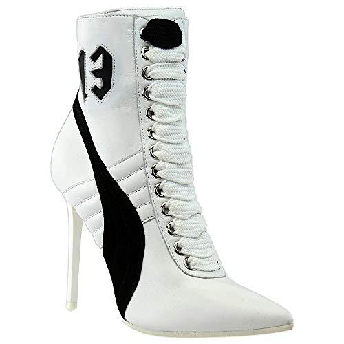 PUMA Women s High Heel Leather Rihanna Puma White Puma Black Puma White Athletic Shoe
