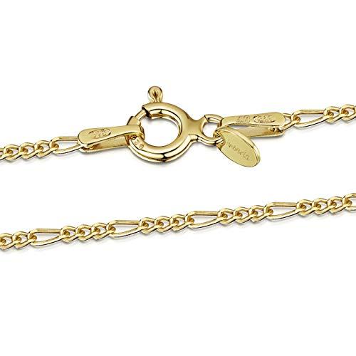 Amberta 925 Sterlingsilber Vergoldet 18K Damen-Halskette - Figaro kette - 1.5 mm Breite - Verschiedene Längen: 40 45 50 55 60 cm (60cm)