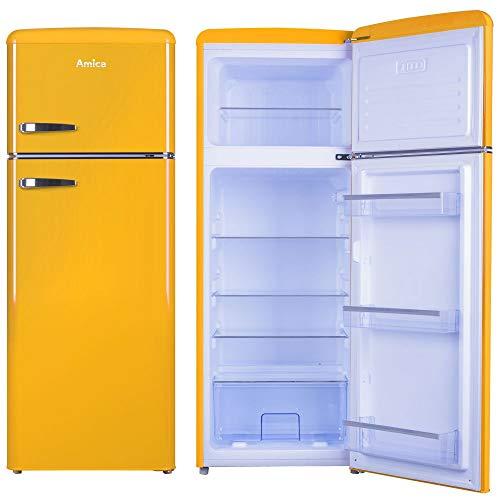 Amica Retro Kühl-/Gefrierkombination Gelb KGC 15633 Y A++ 213 Liter mit **** Gefrierfach Honey Yellow