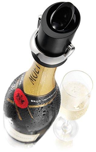 Vacu Vin 18804606 Champagnerverschluss mit Ausgießer und Tropfenschutz, schwarz