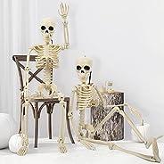 """Radosnya 2 Packs 16"""" Posable Halloween Skeleton, Full Body Tiny Skeletons for Halloween Decorations, Grav"""