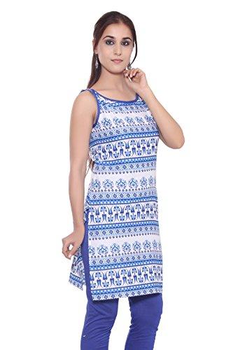 GMI Exclusive Casual Sleeveless Cotton Printed Women's Straight Kurti (Blue, X-Large)