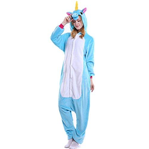 Erwachsene Für Jumpsuit Kostüm Pferde - LSERVER Erwachsenen Tier Pyjama Jumpsuit Cosplay Unisex Pyjamas Outfit Onesie Nacht Kostüm, Blaues Pferd, M (empfohlene Höhe 156-164 cm)