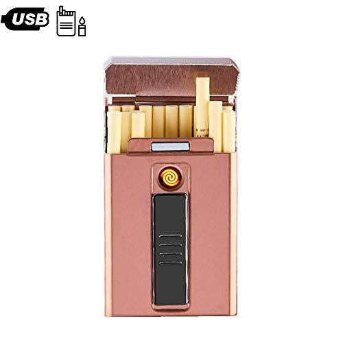 Scatola Di Sigarette In Metallo Scatola 2in1 Con Accendino Elettronico USB Portatile Accendino Al Tungsteno Al Plasma Supporto Impermeabile 20 Pezzi Di Sigarette Sottili,Pink