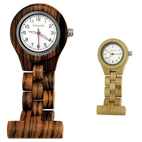 Handgefertigte Holzwerk Germany® Schwestern-Uhr Taschen-Uhr Ansteck-Uhr Puls-Uhr Kittel-Uhr Pflegeuhr-Uhr Öko Natur Holz-Uhr Braun Weiß Krankenschwester-Uhr Analog Klassisch Quarz-Uhr (Braun)