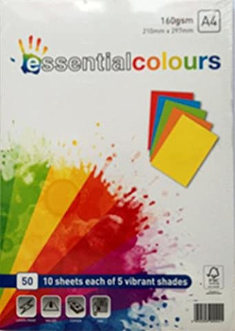 Papago Essentials Lot de 50 feuilles 160 g Couleurs vives assorties A4