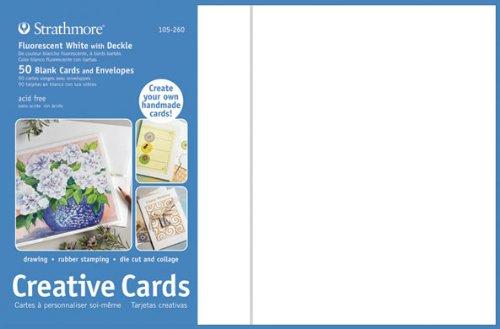 Strathmore ST105-260 Full Size Kreative Karten und Umschl-ge - Fluorescent Wei- mit Deckle