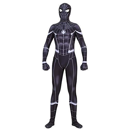 Schwarzes Spiderman Kostüm Cosplay Siamesische Strumpfhose Abnehmbare Maske Unsichtbarer Reißverschluss 3D-Digitaldruck Halloween Cosplay Anzug,Adult-XL (Spiderman Kostüm Reißverschluss)