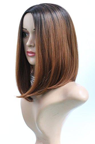 30,5 cm Noir à moyenne Ombre perruque auburn, Fashion Style résistant à la chaleur Bob tête complète Fun Perruque Noir racine à 30 #