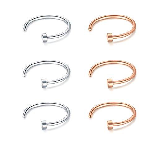 JFORYOU 22G 8mm 6 Stück Nasen Ring Fake Nasenpiercing Hoop Ohrringe Fake Lippen Ring Helix Ohrring Rose Gold und Silber (Hoop Nose Ring)