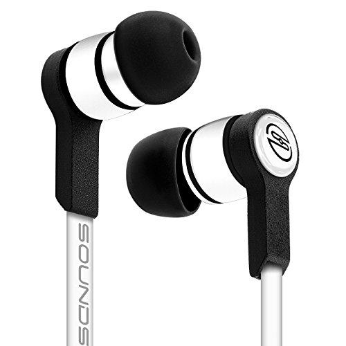 deleyCON SOUNDSTERS S18 Auriculares - Conexión Jack de 3,5mm - Conector en Ángulo de 90° Audio Potentes Notas Graves Cable Plano TPE - Blanco