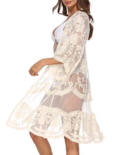 Kistore Damen Spitzen-Cardigan mit Blumenmuster und Häkeln, durchsichtig, Strandüberzug - Orange - Einheitsgröße (Cover Ups Badeanzug Junior)