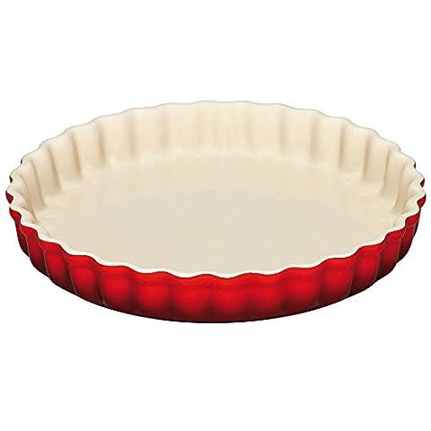 Le Creuset Stoneware Fluted Flan Dish, 24 cm - Cerise