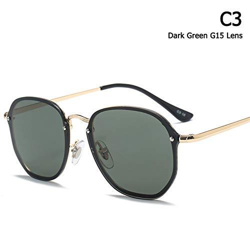 ZHOUYF Sonnenbrille Fahrerbrille Modetrend Blaze Stil Runde Sonnenbrille Frauen Männer Vintage Klassische Marke Design Sonnenbrille Oculos De Sol, C.