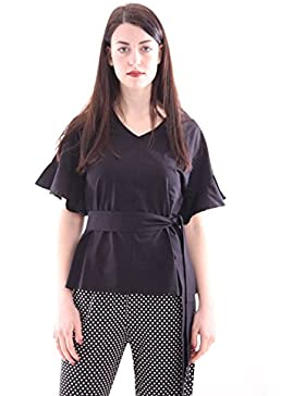 Seventy Black Cotton T-Shirt with Knot Side, Mujer.