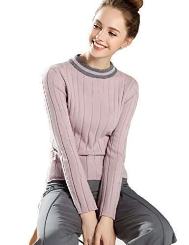 Xiouli Damen Klassisch Pullover Gr. M, rose (Wool Crewneck Brown Pullover)