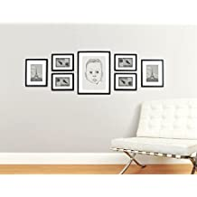 Marcos de Fotos para Pared de MADERA SÓLIDA - Conjunto de 7 Marcos - Con Paspartú para foto - ¡Grosor del Marco 2 cm! - Negro