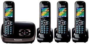Panasonic KX-TG8524EB DECT Quad Digital Cordless Phone Set with Answer Machine - Black