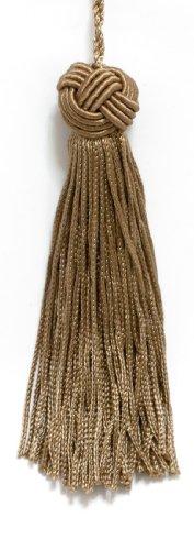 Set aus 10 hangewebten Chainette Quaste im Turban-Stil, 10,2 cm lang mit 6,3 cm Schlaufe, klassischer Umrandungs-Stil # BH04, Farbe: dunkler Sand, A8 -