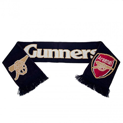 Arsenal FC Gunners Navy Football Club Jacquard Knitted Scarf Red Sign Badge Fan -