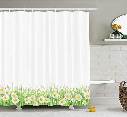 Flower Decor Shower Curtain Set, Daisies in The Grass On Plain Background Modern Floral Print Country Style Decor, Bathroom Accessories, Green White,Size:66W X 72L Inche -