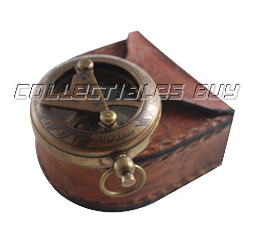 Vintage Messing antik Pocket Sonnenuhr Kompass mit Leder Fall Marine Nautisches handgefertigt Richtung Gerät–perfekte Halloween und Weihnachten Geschenk, Nachbau - Weihnachten Nautische
