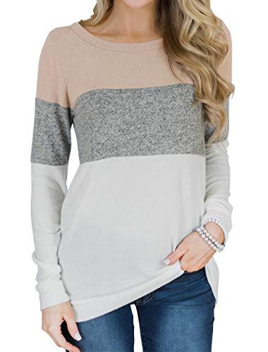 Minthunter Damen langarm-farben-block-nettes shirt rundhals casual tops groß weiß -