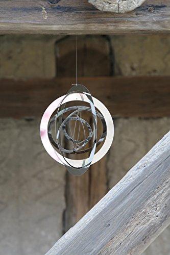 Exklusives kreisförmiges Windspiel LEVRIERO CERCHIO aus rostfreien glänzenden Edelstahl Ø20cm - 3