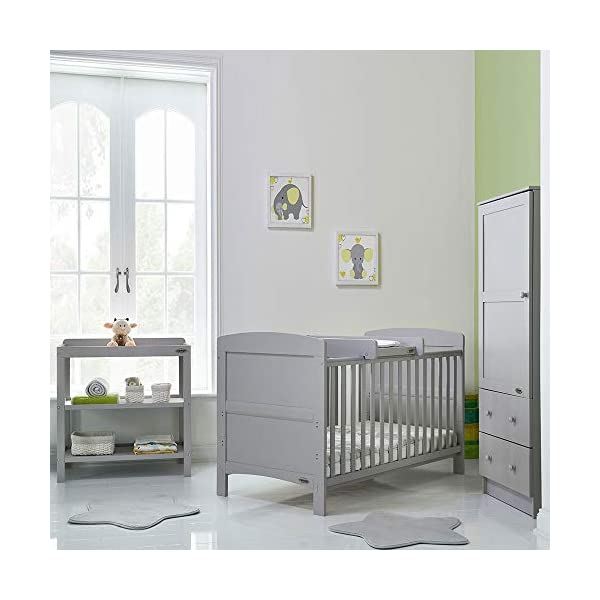 OBaby Grace 3 Piece Room Set (Warm Grey) Obaby Room set includes Grace cot bed, open changing unit and single wardrobe Cot bed features an adjustable 3 position base and protective teething rails Converts into a stylish toddler bed 8
