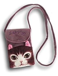 süße Umhängetasche Handytasche Mädchen Tasche Katze Kätzchen plüschig