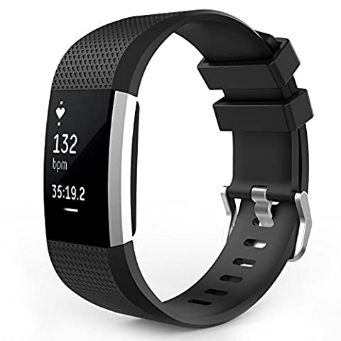 Replacement Wristband Bracelet Strap Band for Fitbit Charge HR 2 Classic Buckle (Black, Small)