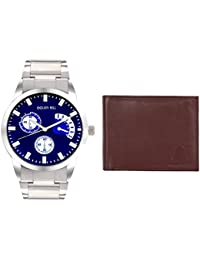 Golden Bell Original Chronograph Look Blue Dial Silver Steel Chain Analog Wrist Watch For Men With Free Brown...