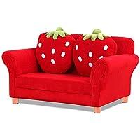 Einzigut Kindersessel Sofa, gepolsterte Wohnzimmermöbel, Lounge Couch mit Zwei Erdbeerkissen (Doppelsitz, Rot) preisvergleich bei kinderzimmerdekopreise.eu