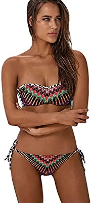 Nueva mujer africana rayos impresión bandeau bikini Swimwear Beachwear Bikini conjuntos desgaste del verano Tamaño XL UK 14-16UE 42-44