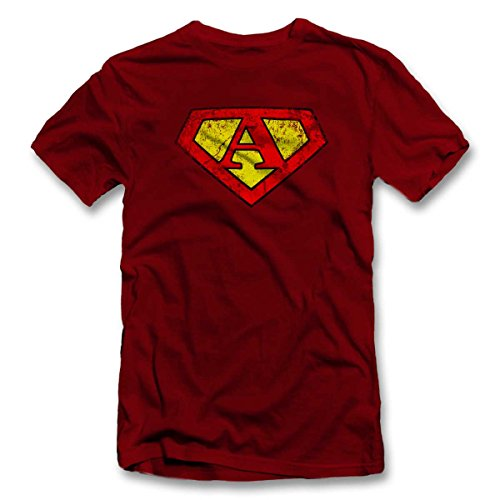 A Buchstabe Logo Vintage T-Shirt S-XXL 12 Farben / Colours Bordeaux