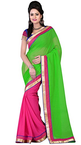 Om Designer Half-Half Chiffon Women's Saree with Blouse Material (Green-Pink)  available at amazon for Rs.299