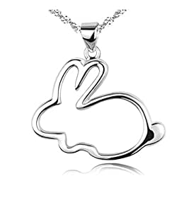 Celebrity Jewellery S925 Sterling Silver Cute Small Bunny Shape Pendant Rabbit Necklaces for Women