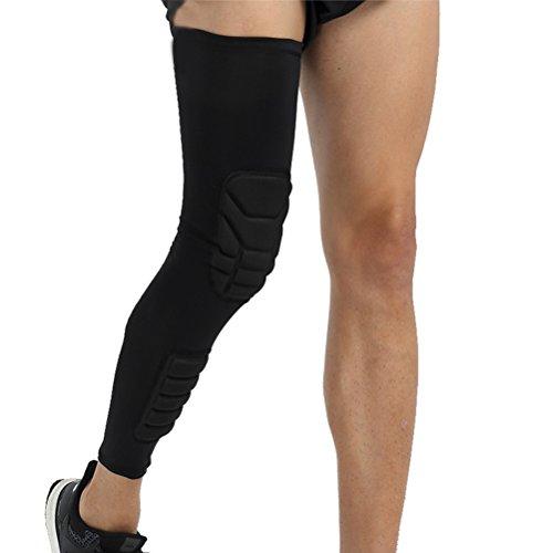 VORCOOL Kompression Knieschoner lange elastische Kniebandage zum Laufen, Basketball, Fußball, Wandern, Outdoor Aktivitäten Knieschutz Größe L (Schwarz)