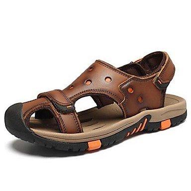 Los hombres sandalias de cuero verano talón plano Casual caqui marrón US8 / EU40 / UK7 / CN41