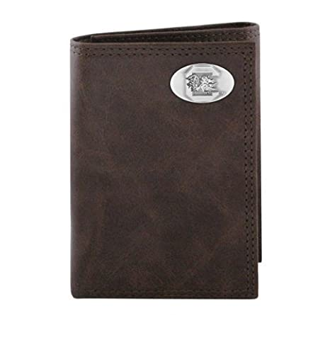 NCAA South Carolina Fighting Gamecocks Brown Wrinkle Leather Trifold Concho Wallet, One Size by Zeppelin Products, Inc.