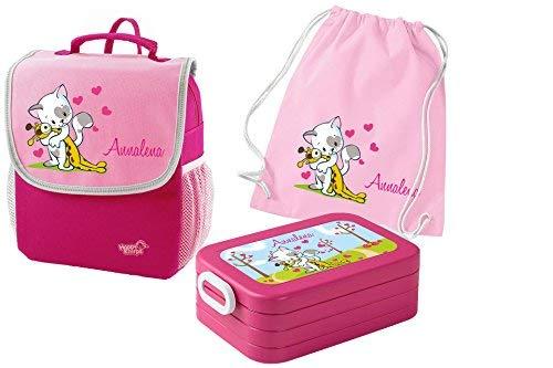 Mein Zwergenland Set 4 Kindergartenrucksack mit Brotdose und Turnbeutel aus Baumwolle Happy Knirps Next mit Name Katze, 3-teilig, Pink