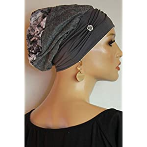 Beanie Mütze Ballonmütze Edel Grau Silber Rosen mit Band little things in life Chemo Cap Hat Chemomütze Mütze bei Krebs Kopfbedeckung Turban