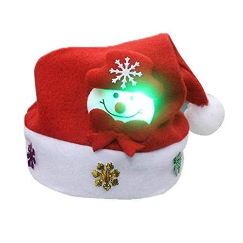MANSEN Adorable muñeco de Nieve Navidad Sombrero Gorras LED para niños niños Regalo de año Navidad Decoraciones caseras