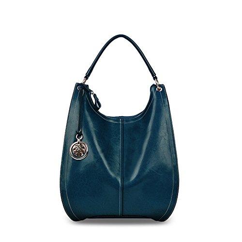 Xinmaoyuan Borse donna in pelle cera Borsa donna borsa donna portatile spalla singolo pacchetto Crescent confezione Bulk,blu scuro - Goffratura Cera