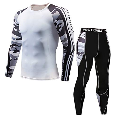 EUCoo Men\'s Sportbekleidung Casual Langarm Camouflage Fitness T-Shirt Fast Drying Elastic Sports Tight Suit(Weiß,Mittel)