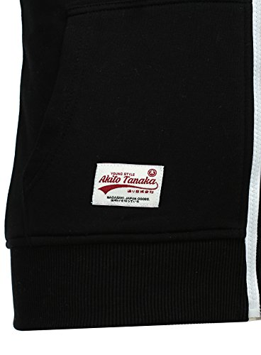 Akito Tanaka Herren Sweatjacke Jacke Weste Zip Pullover Hoodies Sweatshirt mit Kapuze Schwarz