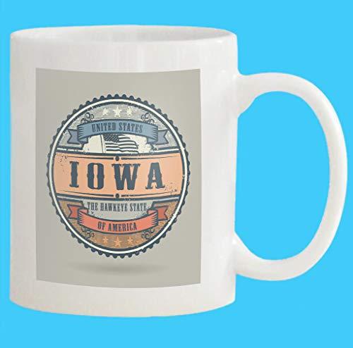 Custom Coffee Mug 11 Oz vintage stamp label text united states america iowa vintage stamp text united states White Ceramic Gifts Tea Cup -