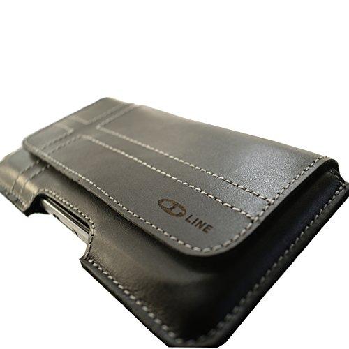 Fondina per il tuo cellulare Apple Iphone 5S Croce tasca e passante per cintura con clip design Slim Case in vera pelle Custodia von ORLINE in Nero con chiusura magnetica a mano