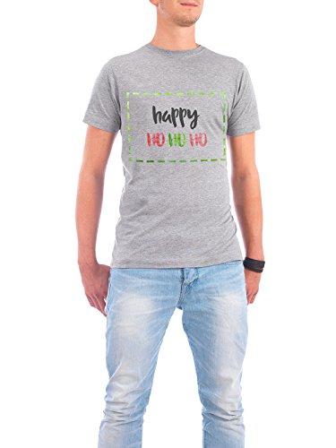 """Design T-Shirt Männer Continental Cotton """"Happy HoHoHo"""" - stylisches Shirt Typografie Weihnachten von Hannah Brandes Grau"""