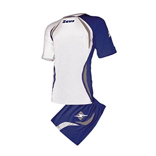 Zeus Herren Volleyball Fußball Set Trikot Hose Shirt Shorts Indoor Handball Training Ausbildung KIT FONZ WEISS BLAU SILVER (XXL)